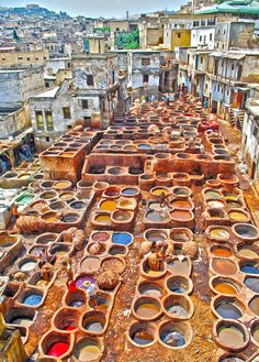 Morocco rooftop dyeing