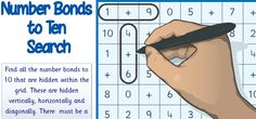 A word search style activity where students identify the number bonds to ten hidden in a grid. A useful activity to laminate and use with a dry wipe marker although it could also be used as a worksheet. A solution sheet, identifying all the available number bonds to ten, is included. Sassoon numbers throughout