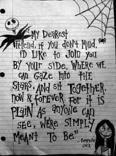 Nightmare Before Christmas, definitely my favorite animated film. I'm a hug… Nightmare Before Christmas, definitely my favorite animated film. I'm a huge fan of Tim Burton. Corpse Bride Tattoo, Corpse Bride Quotes, Invitations Disney, Wedding Invitations, Jack Y Sally, Jack And Sally Quotes, Engagement Inspiration, Estilo Tim Burton, Nightmare Before Christmas Wedding