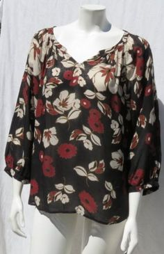 LUCKY BRAND Black Floral Print 100% Rayon Peasant Blouse Shirt Top size M