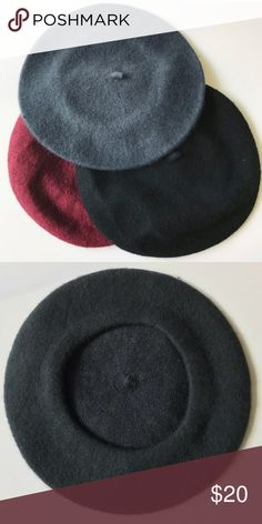 Classic Berets - Gray/Wine Red A perfect classic beret/hat. Very chic and stylish.  Materials: Wool, Felt Red & gray. Choose your color.  Size: one size Atelier Sona Accessories Hats