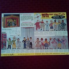 Obverse (outside) of 1960 two-panel Hazelles Marionettes product brochure that arrived today.