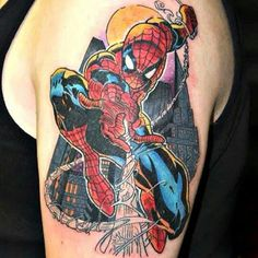 #spiderman #tattoo Tattoos For Guys, Cool Tattoos, Spiderman Tattoo, Piercings, Marvel, Ink, Tattoos, God Tattoos, Peircings