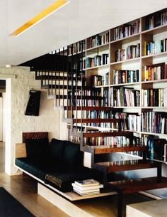 6 ways to create a home library + reading nook no matter what size home. Your hallway, staircase, doors or windows can all create a home library. Open Stairs, Floating Stairs, Under Stairs, Floating Shelves, Staircase Bookshelf, Staircase Design, Book Stairs, Bookshelves, Bookshelf Ideas