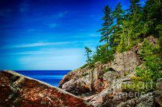 Rocky shoreline on Lake Superior, Ontario, Canada.