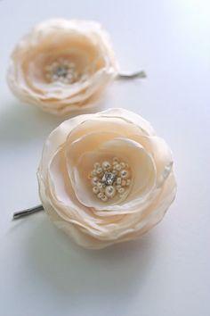 Wedding Flower Hair Piece, Light Champagne Bridal Flower Clips (2 pcs), Nude, Ivory, Wedding Flower Clips, Headpiece, Bridal Accessories