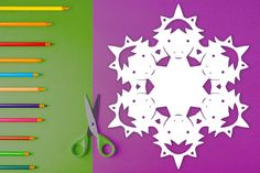 Easy-to-follow paper snowflake pattern with steps on how to fold & cut out a snowflake that looks like a unicorn! $1 PDF Download to print out at home and create a cute, one-of-kind paper snowflake. Perfect for arts & crafts, holiday decorations, homeschool art lessons, gifts, table decor, birthday parties, and more. #snowflake #papersnowflake #papersnowflakes #snowflakes #pattern #DIY #Christmas #xmas #snowflakepattern #papersnowflakepattern #pattern #template #unicorn #unicorns Paper Snowflake Template, Paper Snowflake Patterns, Paper Snowflakes, Print And Cut, Art Lessons, Unicorn, Arts And Crafts, Templates, Table Decorations