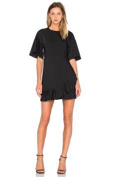 Tibi Elbow Sleeve Pleated Hem Dress sz. 2 (Black) #Tibi #ShiftTiered #Cocktail