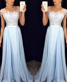 High quality chiffon lace prom dress,charming A-line prom dress,appliques evening dress