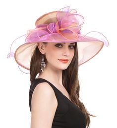 Saferin Women s Kentucky Derby Sun Hat Church Cocktail Party Wedding Dress  Organza Hat Two Tone Color (SF2-Beige+Coffee) at Amazon Women s Clothing  store  1b72e4013cbb