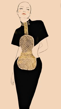 """Fashion Illustration by Sandra Suy, 2012, """"Violin Dress, S/S 1983, by Karl Lagerfeld"""", Chloe Anniversary Collection."""