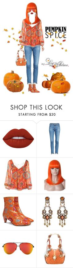"""""""Fall's Traditional Color"""" by shellygregory ❤ liked on Polyvore featuring Lime Crime, AG Adriano Goldschmied, Diane Von Furstenberg, WithChic, Beau Coops, Victoria Beckham, Mary Frances Accessories and pumpkinspice"""