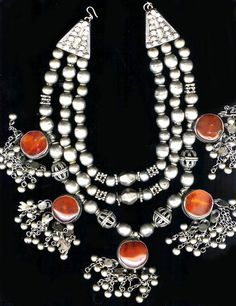 Yemen necklace with high grade silver and carnelian late 19th/ early 20th c (archives sold Singkiang)