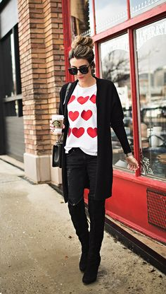 Look chic with a Heart Print Tee Shirt with Over the Knee Boots Date Outfits, Boot Outfits, Vegas Outfits, Woman Outfits, Club Outfits, Casual Outfits, Valentine's Day Outfit, Outfit Of The Day, Outfit Ideas