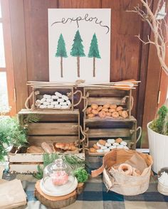 """Kara's Party Ideas on Instagram: """"Loving the rustic #camping themed #birthdayparty featured on #KarasPartyIdeas.com today (link in profile)! Styled by @megelisephotography! #party #campingparty #partyideas"""""""