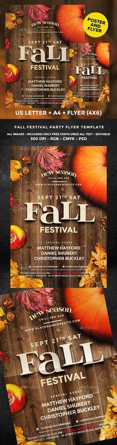 Fall Festival Flyer Template PSD. Download here: https://graphicriver.net/item/fall-festival/17564804?ref=ksioks