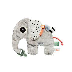 Het tuttel doekje Elphee wordt je kindjes beste vriendje. Het tuttle doekje in de vorm van een olifantje heeft een clipje waar je het fopspeentje aan vast kan maken en labels, met verschillende structuren, waar je kindje aan kan voelen.