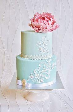 Aqua Floral Cake