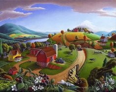 Landscape Painting: Rural Country Landscape Folk Art Farm Blackberries Original Blackberry Patch Painting American Americana Curlee. $8,000.00, via Etsy.