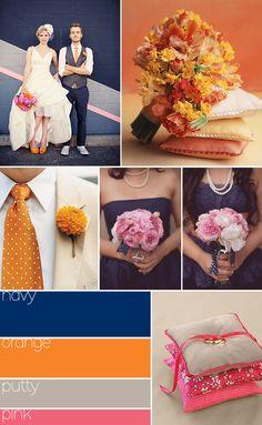 Color inspiration: navy, orange, putty, pink!