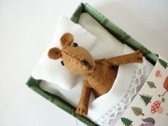 Nursery Decor Felt plush bear miniature brown by atelierpompadour, €20.00