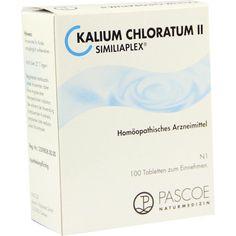 KALIUM CHLORATUM II Similiaplex Tabletten:   Packungsinhalt: 100 St Tabletten PZN: 07568531 Hersteller: PASCOE pharmazeutische Präparate…