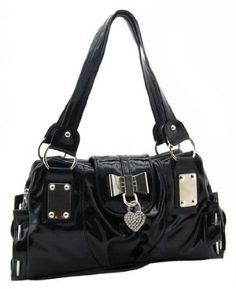SEY Sweet Black Bow / Heart Lock PU Patent Leather Satchel Bowler Hobo Handbag Purse --- http://www.pinterest.com.yolo.bz/101