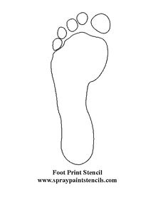 free line drawing of footprint | Hands and Feet Stencils