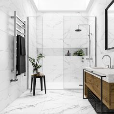 Mont Blanc white marble effect matt wall and floor tile x can find Marble bathrooms and more on our website.Mont Blanc w. Marble Tile Bathroom, White Marble Bathrooms, Marble Showers, Bathroom Flooring, Marble Tiles, Marble Wall, Bathroom Porcelain Tile, White Marble Flooring, Marbel Bathroom