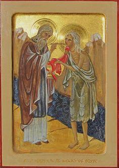 Mary of Egypt - egg tempera & gold leaf St Mary Of Egypt, Orthodox Christianity, Tempera, Gold Leaf, Worship, Saints, Egg, Spirituality, Female