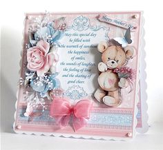 TEDDY BEAR ROSES   VERSE 7 5 Decoupage   Insert Mini Kit on Craftsuprint created by Denise Murray - Printed onto matte photo paper, mounted onto a scalloped 7x7 card blank and attached the insert. I used glue gel for the decoupage elements and embellished with die cut sprigs, pearls and a bow. This adorable design has lots of dimension and comes with a great choice of sentiments...... just beautiful!