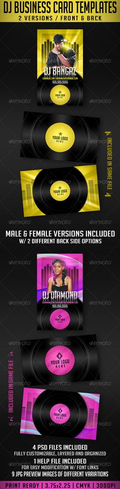 DJ Business Card Templates — Photoshop PSD #pink #sound • Available here → https://graphicriver.net/item/dj-business-card-templates/2418391?ref=pxcr