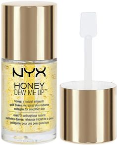 NYX Honey Dew Me Up Skin Serum & Primer has innovative light reflective gold flecks which create a luminous look that will help keep your skin looking radiant all day..