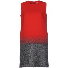 Victoria, Victoria Beckham Short Dress (2.375 BRL) ❤ liked on Polyvore featuring dresses, red, mini dress, zipper dress, zip dress, red dress and sleeveless dress