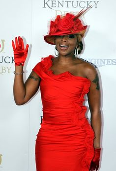 """Mary J. Blige, who kicked the horse race off with soulful version of �The Star-Spangled Banner,"""" accessorized her red frock with matching gloves, a flower  * and Golden Red Top Pheasant Tails * -adorned chapeau, and pretty Lorraine Schwartz diamond hoop earrings.  http://sportsbettingarbitrage.in"""