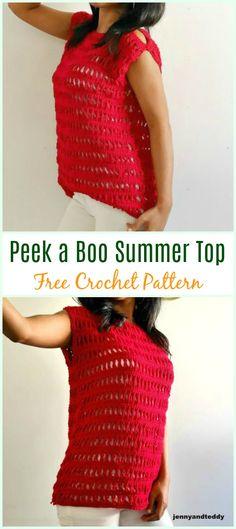 Crochet Blouse Patterns Crochet Peek a Boo Summer Top Free Pattern - Crochet Bodycon Dresses, Black Crochet Dress, Crochet Shirt, Crochet Jacket, Free Crochet, Knit Crochet, Crochet Sweaters, Crochet Summer Tops, Crochet Tops