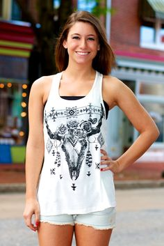 Floral Aztec Bull Tank Top #May23Online $20.00 #madeinusa #fashion