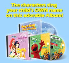 Watch your child's face light up when they hear Elmo, Mickey & Disney Princesses sing their OWN name on this adorable personalised album. Your child is the star