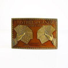 Vintage Brothel & Casino Inspector Brass Belt by VintageEarlyBirds