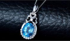 Chic Micro Pave Zirconia S925 Drop Pendant Necklace with Blue Topaz #bluetopaz #necklaces