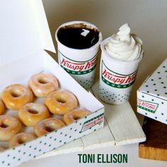 Toni Ellison: Krispy Kreme Doughnuts & Coffee : Miniature Polymer Clay Food Tutorial- WITH PRINTABLES
