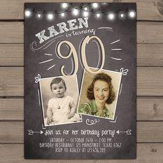 90th birthday invitation Vintage birthday invite Chalkboard