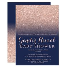 Rose gold glitter navy blue gender reveal baby invitation Sparkle Baby Shower, Gold Baby Showers, Gender Reveal Decorations, Gold Party Decorations, Wedding Centerpieces, Rose Gold Ombre, Rose Gold Glitter, Gender Reveal Invitations, Baby Shower Invitations