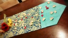 Blue dining table runner using Cambodian silk and Indonesian batik from BringItHome by Tendance Khmere