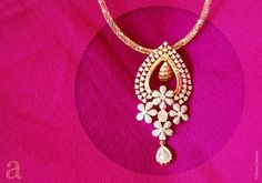 Indian Jewellery and Clothing: Simple but elegant diamond pendant with floral design by Amita Damani design Pink Diamond Jewelry, Diamond Pendant, Pendant Set, Diamond Necklaces, Pendant Necklace, Stone Necklace, Gold Jewellery, Jewlery, Jewellery Sketches