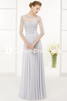 $109.49-Beautiful Beaded  Jewel-Neck Chiffon Long Grey Mother of the Groom Dress with 3/4-Sleeves. http://www.ucenterdress.com/a-line-beaded-3-4-sleeve-floor-length-jewel-neck-chiffon-prom-dress-pMK_301450.html.  Tailor Made mother of the groom dress/ mother of the brides dress at #UcenterDress. We offer a amazing collection of 800+ Mother of the Groom dresses so you can look your best on your daughter's or son's special day. Low Prices, Free Shipping. #motherdress