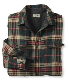 For Brad | Large Fleece-Lined Flannel Shirt, In Loden