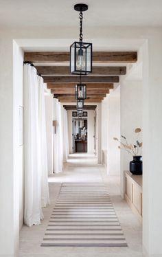 Hallway with reclaimed wood beams and modern lantern light fixtures Long Hallway, Entry Hallway, Hallway Runner, White Hallway, Entry Rug, Design Jobs, Design Ideas, Design Styles, Br House