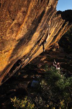 BD athlete Nalle Hukkataival bouldering in Grampians, Australia