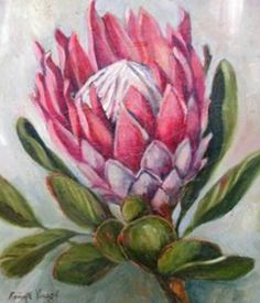 More Ceramic Painting, Fabric Painting, Painting & Drawing, Bull Painting, Protea Art, Protea Flower, Watercolor Flowers, Watercolor Paintings, Painting Flowers